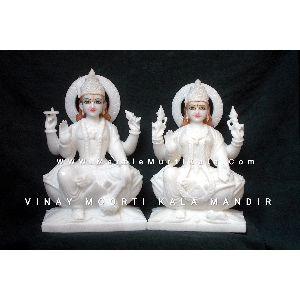 White Marble Vishnu Laxmi Murti