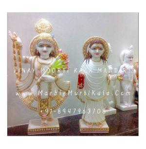 White Marble Yamunaji and Mahaprabhuji Statue