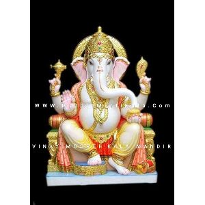 Multicolour Makrana Marble Ganesh Statue