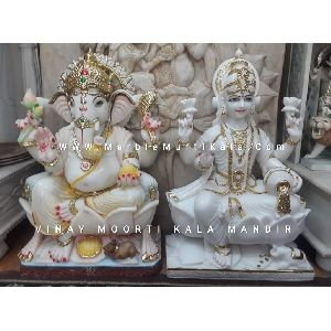Ganesh Ji with Laxmi Ji Marble Statue