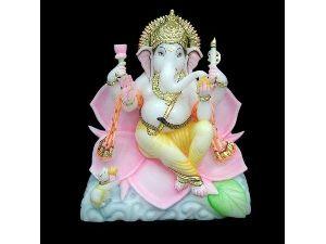 Ganesha Sitting On Lotus Marble Statue