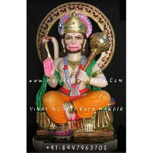 Marble Hanuman ji Sitting on Sighasan Murti