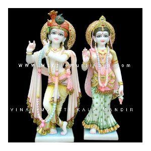 Multicolor Marble Radha Krishna Statue