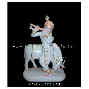 Krishna Ji with Cow Statue in Marble