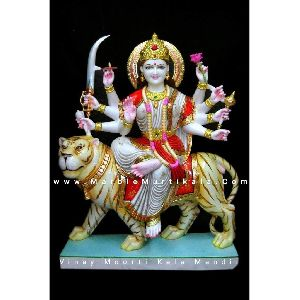 Multicolor Durga Mata Marble Statue