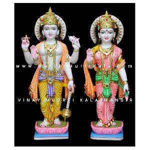 Multicolor Laxmi Narayan Marble Statue