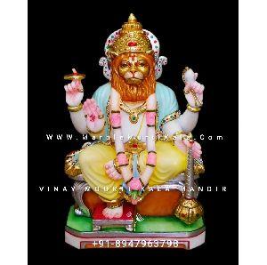 Multicolor Marble Narsingh Bhagwan Statue