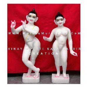 White Iskcon Radha Krishna Marble Statue