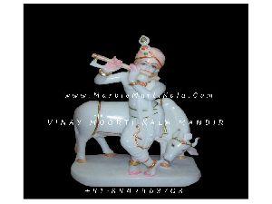White Marble Gau Gopal Statue