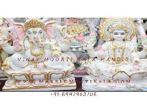 White Marble Laxmi Ganesh Moorti