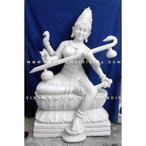 White Saraswati Marble Statue