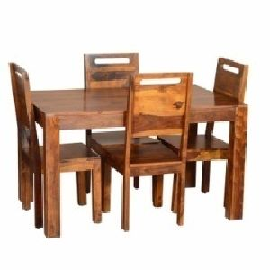 4 Seater Wooden Dining Table Set 03