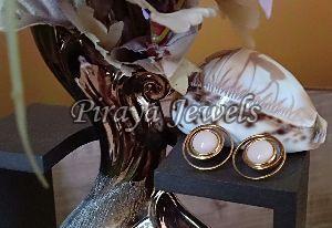 E0002 Pink Opal Gold Plated Earrings