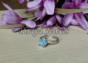 Aquamarine Rough Stone Silver Ring