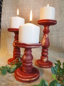 Mango Wood Candle Holder Set