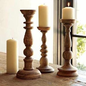 Wooden Candle Stand Set