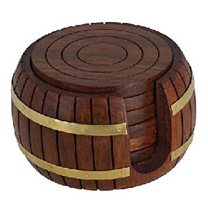 Wooden Round Tea Coaster