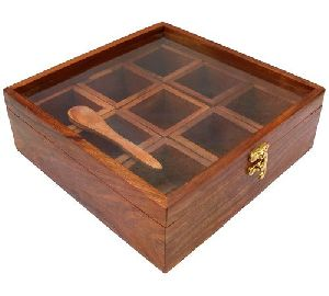 Wooden Square Spice Box