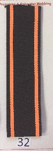 Black Dark Orange Stripe Polyester Webbing