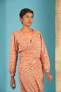 Red Handloom Tie top