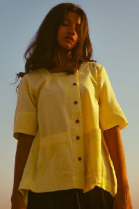 Yellow Pleated Top