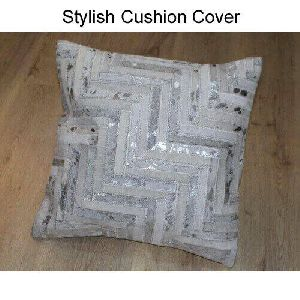 Leather Silver Foil Cushion Covers