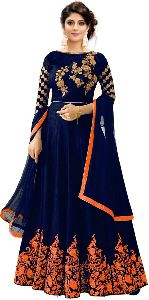 Blue with Orange Embroidered Anarkali Suits