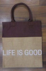 Laminated Natural Jute Bag with Dyed Canvas At Top Part