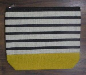Laminated White Jute with Stripes Print Bag