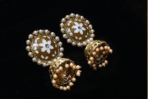 Coloured Meenakari Jhumkas