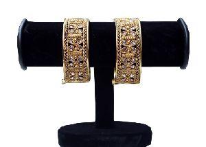 Floral Kundan Gold Bangles