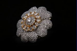 Floral White Stone AD Ring