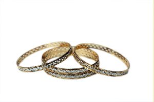 Gold Four Piece Bangles Set