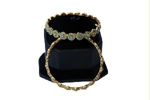 Meenakari Two Piece Stone Work Bangles Set