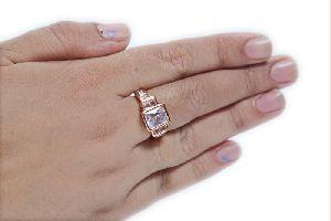 Rectangular Rose Gold AD Ring
