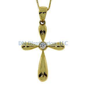 .05 Ct Diamond & 18KT Yellow Gold Cross Religious Pendant