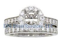 1.03 Ct Diamond & 18KT White Gold Semi Mount Ring