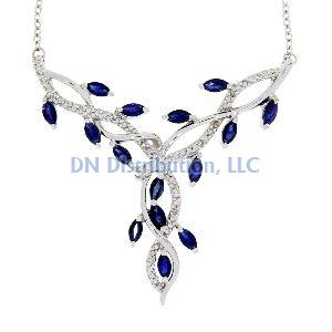 Sapphire Diamond & White Gold Flower Necklace