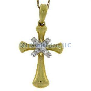 .12 Ct Diamond & 18KT Yellow Gold Cross Religious Pendant
