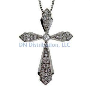 .13ct Diamond & 18KT White Gold Cross Religious Pendant