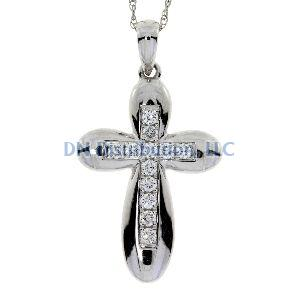 .20 Ct Diamond & 18KT White Gold Cross Religious Pendant
