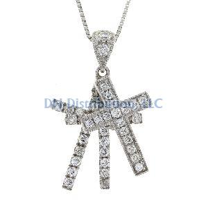 .33 Ct Diamond & 18KT White Gold Cross Religious Pendant