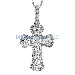 .38 Ct Diamond & 18KT White Gold Cross Religious Pendant