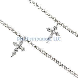 .40ct Diamond & 18K White Gold Cross Religious Pendant