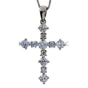 .63 Ct Diamond & 18KT White Gold Cross Religious Pendant