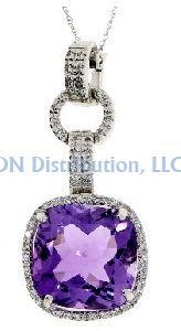 9.52 Ct Amethyst Diamond & 18KT White Gold Pendant