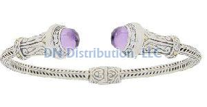 Amethyst Cubic Zirconia  Bangle Bracelet