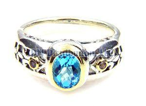 Sterling Silver Blue Topaz Tanzanite Ring