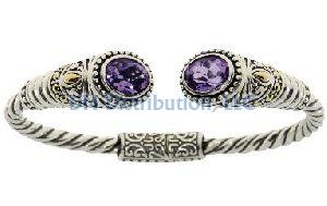 Sterling Silver Amethyst Bangle Bracelet