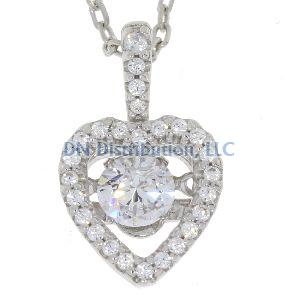 Heart Shape Sterling Silver & CZ Dancing Pendant